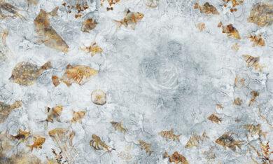 Tapeta na wymiar, zamówienie tekstura betonu z rybami miedzianymi Byzantine Splendor