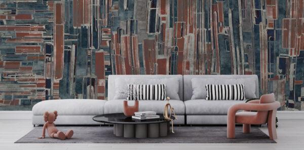 Nowoczesna tapeta na wymiar geometryczna, abstrakcja, przetarcia, granat, czerwień, kolor ceglany
