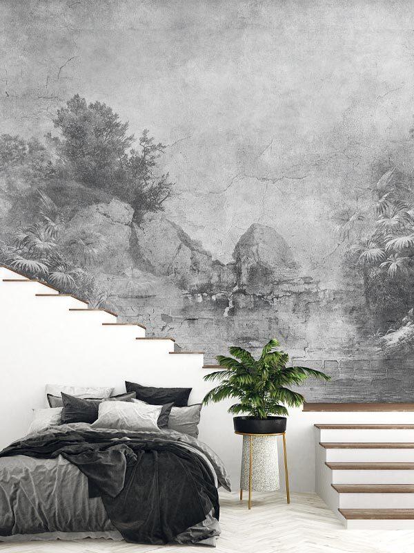 tapeta na wymiar beton stara rycina czarno biała, odcienie szarości