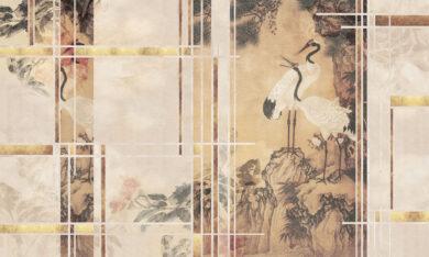 Żurawie tapeta na zamówienie - na wymiar złoto motyw japoński