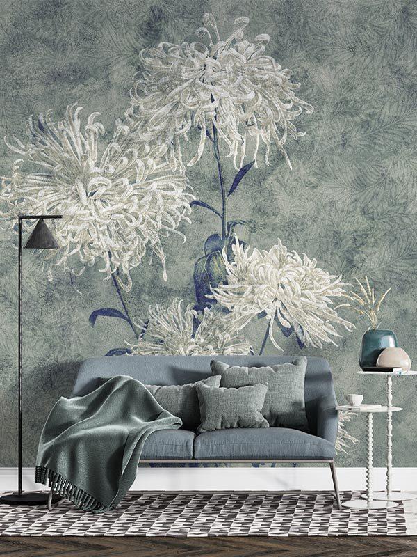 Tapeta na wymiar kwiaty białe, duze chryzantemy na zielonym tle