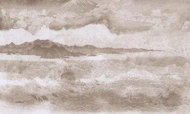 tapeta z motywem japońskim sepia
